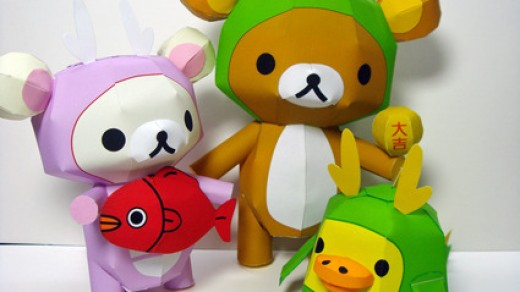 rilakkuma-in-a-green-dragon-costume-papercraft-model