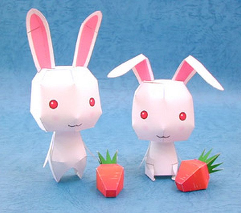 Cute rabbits and carrots paper mode