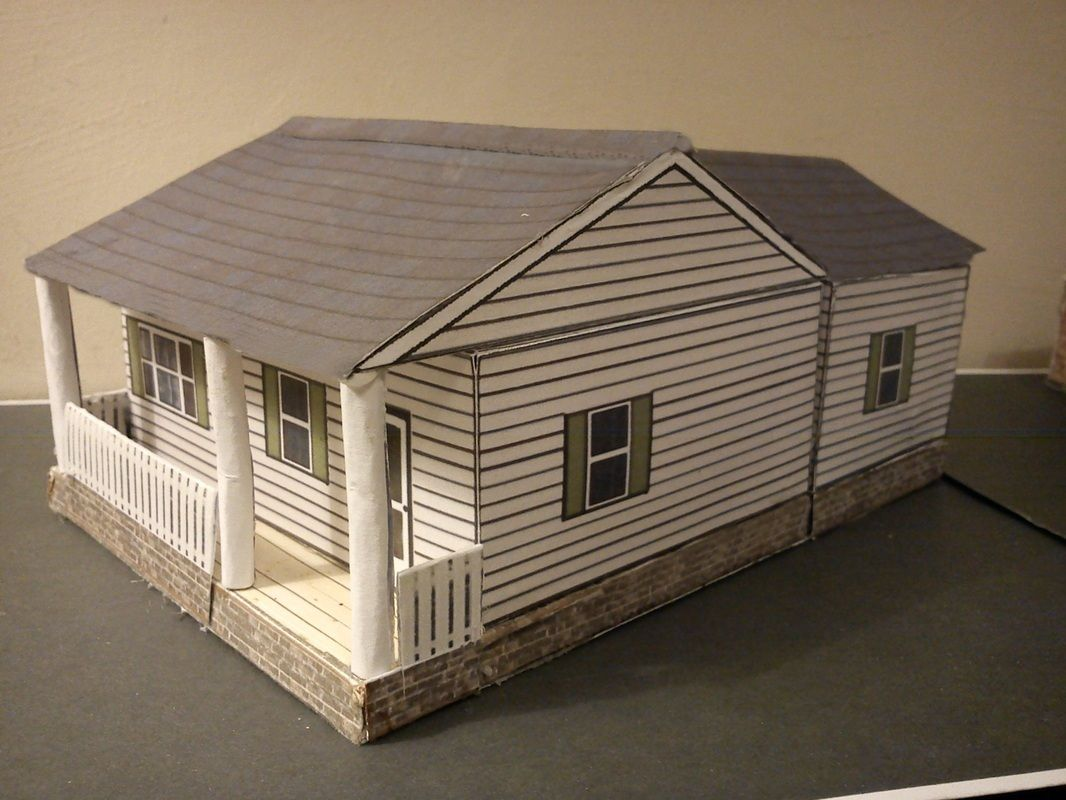 Ranch house diorama paper model
